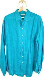 $675 Loro Piana XXL Linen Aqua/Turqoise Casual Button Down Oxford Shirt Sport