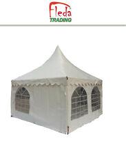 Gazebo Tenda Pagoda 5x5 m Telo PVC 650 g Pareti Laterali Incluse Uso Pubblico