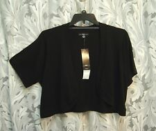 VERY BLACK 100% COTTON OPEN FRONT KNIT SHRUG CARDIGAN BOLERO SWEATER TOP~1X~NEW