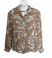 PAISLEY Crinkle Blouse Size 16 XL Shirt Alfred Dunner Multi Gray Salmon Casual