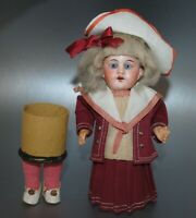 "Antique German Bisque Head Doll Candy Container 8 1/2"" All Original"