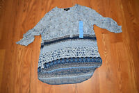 NWT Womens NINE WEST JEANS Dutch Blue Artists Tapestry Lucy Tunic Shirt XL