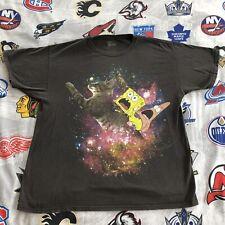 Spongebob Squarepants and Patrick T-Shirt Galaxy Men's Large riding cat universe