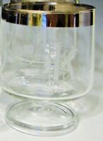 "Platinum Band Brandy Crystal Clear Glass Goblets with Monogram 'K' - 4""H"