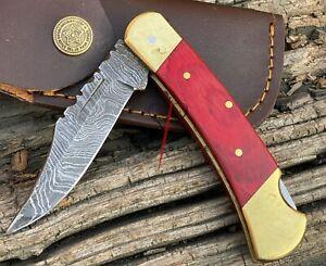 Handmade Damascus Steel Folding Pocket Lockback Knife Wood Handle With Sheath
