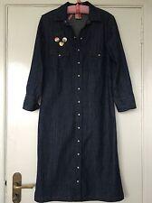 Denim Dresses Collar 3/4 Sleeve