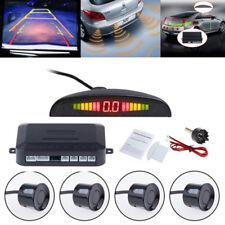 Auto Car LED 4 Parking Sensor Reverse Backup Radar Sound Alarm System Kit Black