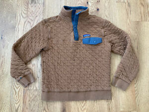 Rare Patagonia quilted snap T Mens small ski hike fish rust Euc