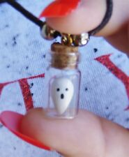 Tiny Ghost in a bottle charm pendant necklace spirit trapped handmade glowINdark