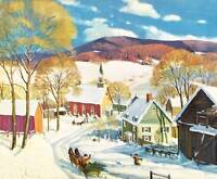 Winter Sleigh town vintage Christmas art