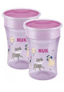 2 X NUK Magic Sippy Cup 360° Anti-Spill Rim 8+ Months BPA-Free Cat Pink 230ml