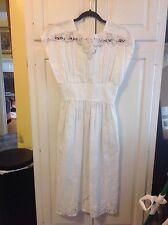 Vintage Nancy Johnson Ramie/Cotton White , Lace , Cutwork Dress Small
