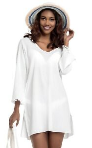 Women's Long Sleeve 100% Cotton Hooded Beach Cover Up  White  Size XL  NWT