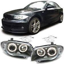 HEADLIGHTS CLEAR ANGEL EYES FOR BMW E81 E82 E87 E88 SERIES 1 NEW LAMPS FARI