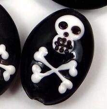 Lampwork Handmade Glass Skull Bone Halloween Oval Pendant Beads (4)