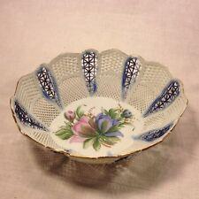 Vintage Euro Porcelain Weave Basket Oval Bowl Hand Painted Lace Floral