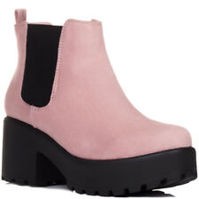 NEW WOMENS BLOCK HEEL CLEATED SOLE PLATFORM CHELSEA ANKLE BOOTS US 5 - 10