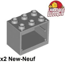 Lego - 2x Container coffre box cupboard 2x3x2 gris/light bluish gray 4532 NEUF