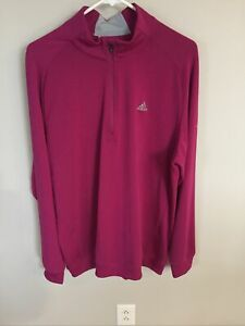 Adidas 1/4 Zip Mens Size Large Long Sleeve Pullover Warmer w/ Logo Chest/Sleeve