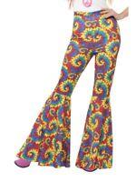 60's Hippie Groovy Flared Trousers Costume Pants Womens Bell Bottom Tie Dye LG