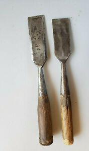 "Vintage 2 3/4"" Chisels - 1 Clean Cut Cast Bevel Socket & 1 Unmarked"