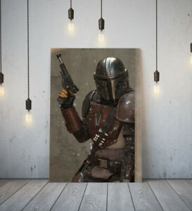 THE MANDALORIAN 4-DEEP FRAMED CANVAS WALL ART PICTURE PAPER PRINT- BLACK SILVER