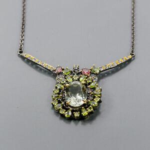 "Handmade Green Amethyst Necklace 925 Sterling Silver  Length 19.75""/N06130"