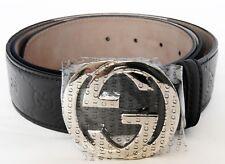 GUCCI Men's GG Logo Leather Belt Black Color 411924 CWC1N Size 90-36 Authentic