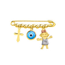 Solid 14k Tri Color Gold Girl Charm with Blue Eye and Religious Cross Safety Pin