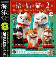 . KAIYODO Capsule Q Mus Kunio Sato Beckoning cat2 [All5 type] Size: about 50mm