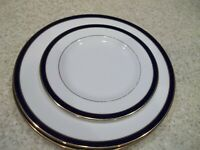 "3 Pc Lenox Federal Cobalt1 Salad 8 1/4"" 2 Dinner Plates 10 7/8"" White Cobalt Blu"