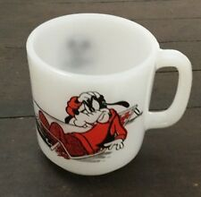 Vtg Goofy Coffee Mug Libbey Milk Glass Cup 42 Disney
