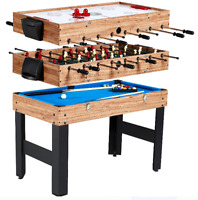 Combo Game Table 48 in. 3-In-1 Hockey Pool Billiards Foosball Games Accessories