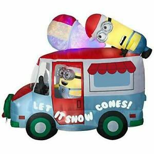 Gemmy Minions Despicable Me Inflatable Snow Cone Holiday Truck with Swirling ...
