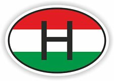 H HUNGARY COUNTRY CODE OVAL WITH  FLAG STICKER bumper decal car helmet laptop