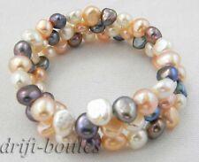 black baroque freshwater pearl Bracelet 3row 8'' 6mm pink white