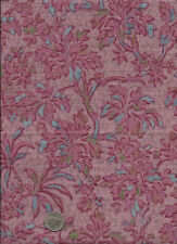 """Middleburg"" Print blue rose on pink Fabric by Jinny Beyer for RJR 2005"