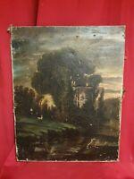 Ancienne peinture huile sur toile, paysage, XIX ème s
