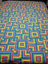 Rainbow Quartered Square Handmade Queen Quilt