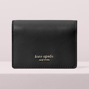 Kate Spade Spencer mini keyring Key Chain Card Case Compact Wallet ~NWT~ Black