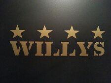 WILLYS DECAL GOLD ** JEEP  ** CJ YJ TJ 4X4 COMMANDO MILITARY POWER WAGON