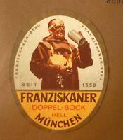 1950s GERMAN BEER LABEL, FRANZISKANER BRAU MUNCHEN GERMANY, DOPPEL BOCK