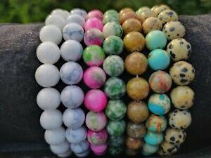 Armband Edelstein Damen Armbänder 8mm Perlen Kugel Beads Perle