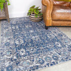 Transitional Navy Blue Rug Small Large Traditional Distressed Living Room Rugs