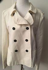 Auth Giorgio Armani Thick 100% Cotton White Trench Jacket EU Sz 46 US10