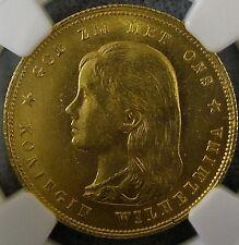 1897 Netherlands 10 gulden Wilhelmina Long hair gold coin. NGC MS-63.
