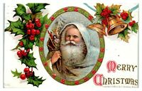 1908 Merry Christmas Light Blue/White Robe Santa Father Christmas Postcard *6G2