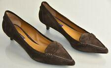 NEW Ralph Lauren COLLECTION Purple Label Suede Brown Kitten Heels Shoes 11 41