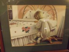 Pink & white framed print girl praying kneeling bed with roses & bunny MG Smith