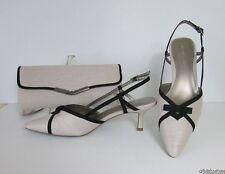 Jacques Vert Blonde Shoes Black Detail & Bow Trim UK 8 (41) BNWB